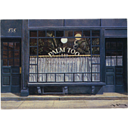 Palm Too New York City Historic Restaurant by French Painter André Renoux c. 1984 Artist Signed