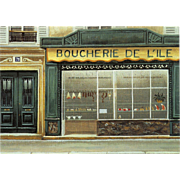 Paris Butcher Shop Front by French Painter André Renoux Vintage Postcard