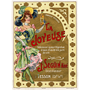 Art Nouveau Liqueur Label La Joyeuse Cognac Lithograph from Pichot of Paris c 1899