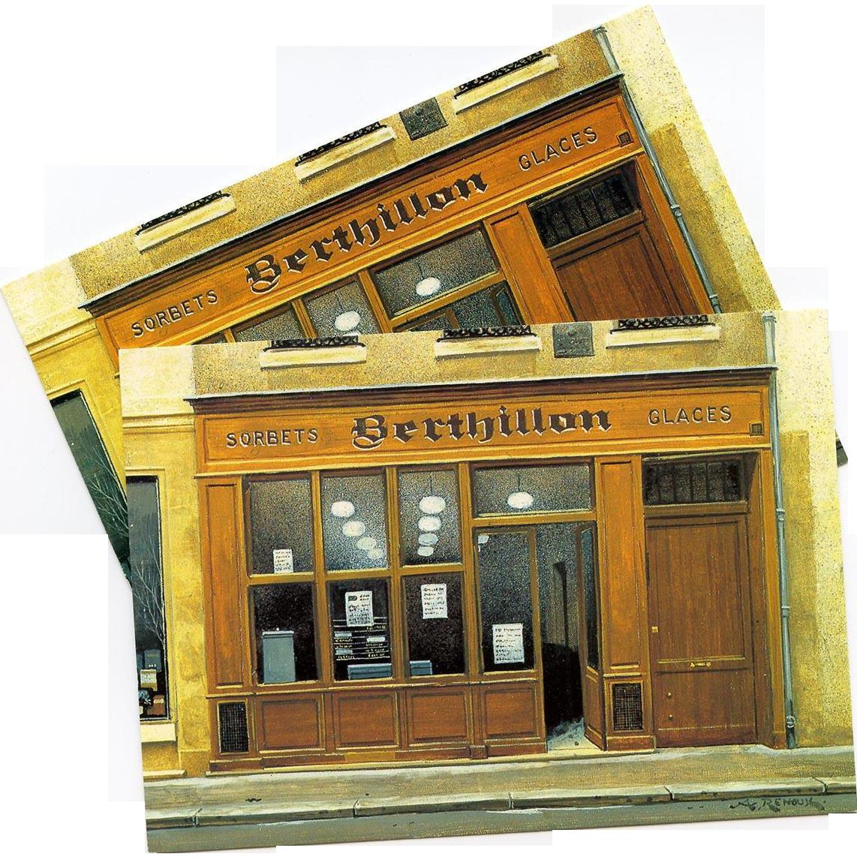 Iconic Berthillon Paris Ice Cream Shop by French Painter André Renoux Unused Vintage Postcard