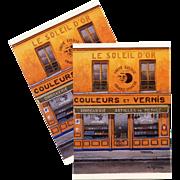 Paris Paint Store Facade The Golden Sun by French Painter André Renoux Unused Vintage Postcard