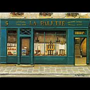 La Palette Artist Shop by French Painter André Renoux Unused Vintage Postcard