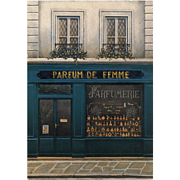 Paris Perfume Shop Parfume de Femme Storefront by French Painter André Renoux Unused Vintage Postcard