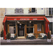 Italian Restaurant in Red Paris Scene by French Painter André Renoux Unused Vintage Artist Signed Postcard