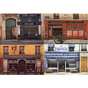 Four Paris Storefronts by French Painter André Renoux RESERVED for Kwei-lin