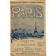 Paris Sheet Music with Eiffel Tower Design 1919