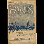 Paris Sheet Music with Eiffel Tower Design 1919