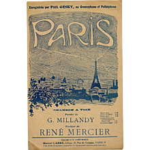 Paris Sheet Music with Eiffel Tower Design 1919 - Red Tag Sale Item