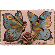 Papillons d'Amour Butterfly Couple Vintage French Postcard Unused