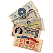 5 French National Lottery Tickets from the 1930s