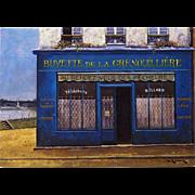 Buvette de la Grenouillière Vintage Postcard by French Painter André Renoux