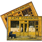 Paris Cafe Charbons by Naïve Artist Fanny Darnat Unused Vintage Postcard
