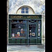 Couleurs pour Artistes Paris Storefront Vintage Postcard Micheline Danon-Marcho