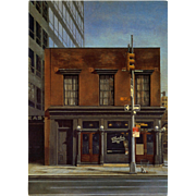 Iconic New York Burger & Beer Saloon Immortalized by French Painter André Renoux Vintage Postcard