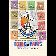 1957 Foire de Paris Souvenir Philatelic Postcard with Multiple Eiffel Tower Cancellations