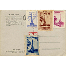 1946 Eiffel Tower Real Photo Postcard with Souvenir Stickers
