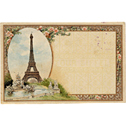 Art Nouveau Artist Signed Eiffel Tower Postcard with 1892 Summit Stamp