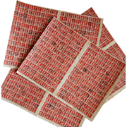 Antique French Red 10 Centimes Stamp Collage Sheets