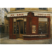 Paris Tobacco Shop Au Caïd by French Painter André Renoux Unused Artist Signed Vintage Postcard