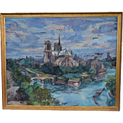 SS Liberte French Ocean Liner Notre Dame Paris Large Oil Canvas A Hebuterne 1948