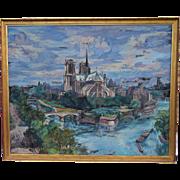 SS Liberte French Ocean Liner Notre Dame Paris Large Oil Canvas A Hebuterne 1948