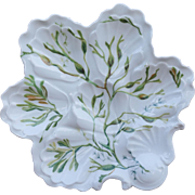 French Oyster PLate Limoges Porcelain B & H Seaweed 1900
