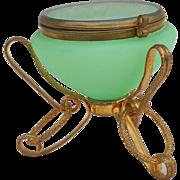 French Jade Opaline Glass Ormolu Jewel Trinket Box Palais Royal 1850