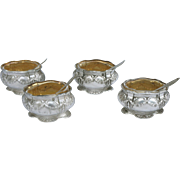 French Vermeil Sterling Silver Set 4 Open Salt Cellar with Spoon Cut Crystal G Veyrat Paris 1900