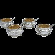 French Vermeil Sterling Silver Set 4 Open Salt Cellar with Spoon Cut Crystal G Veyrat Paris 1900