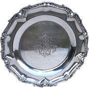 French Emile Puiforcat Sterling Silver Scalloped Engraved Serving Dish Mono MC Paris 1880