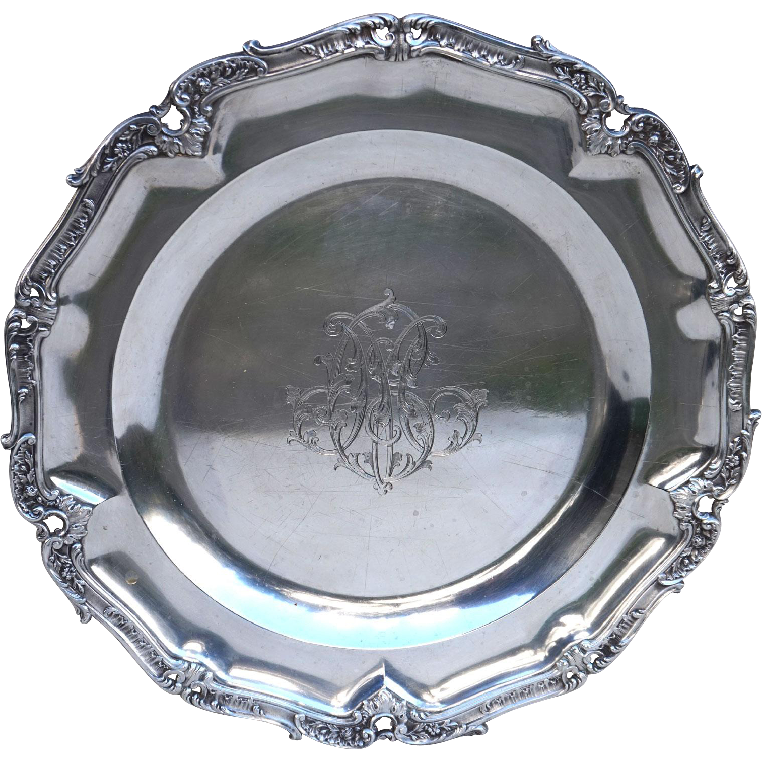 French Emile Puiforcat Sterling Silver Scalloped Engraved Serving Dish Mono MC Paris 1880