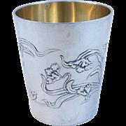 French ART NOUVEAU Sterling Silver Wine Water Julep Cup Tumbler Goblet Boulenger Paris