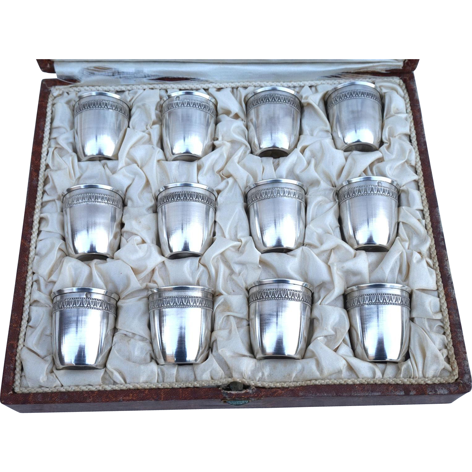 French Sterling Silver .950 12 Cordials Cup Original Case Stamped Paris 1900