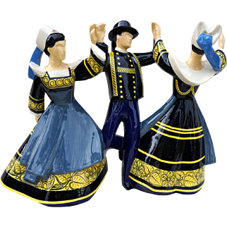 Large 3 Dancers Pont-Aven R Micheau Vernez Henriot Quimper French Polychrome Faience