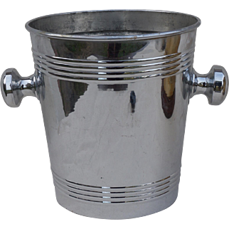 French Art Deco Chrome Champagne Cooler Ice Bucket 1940
