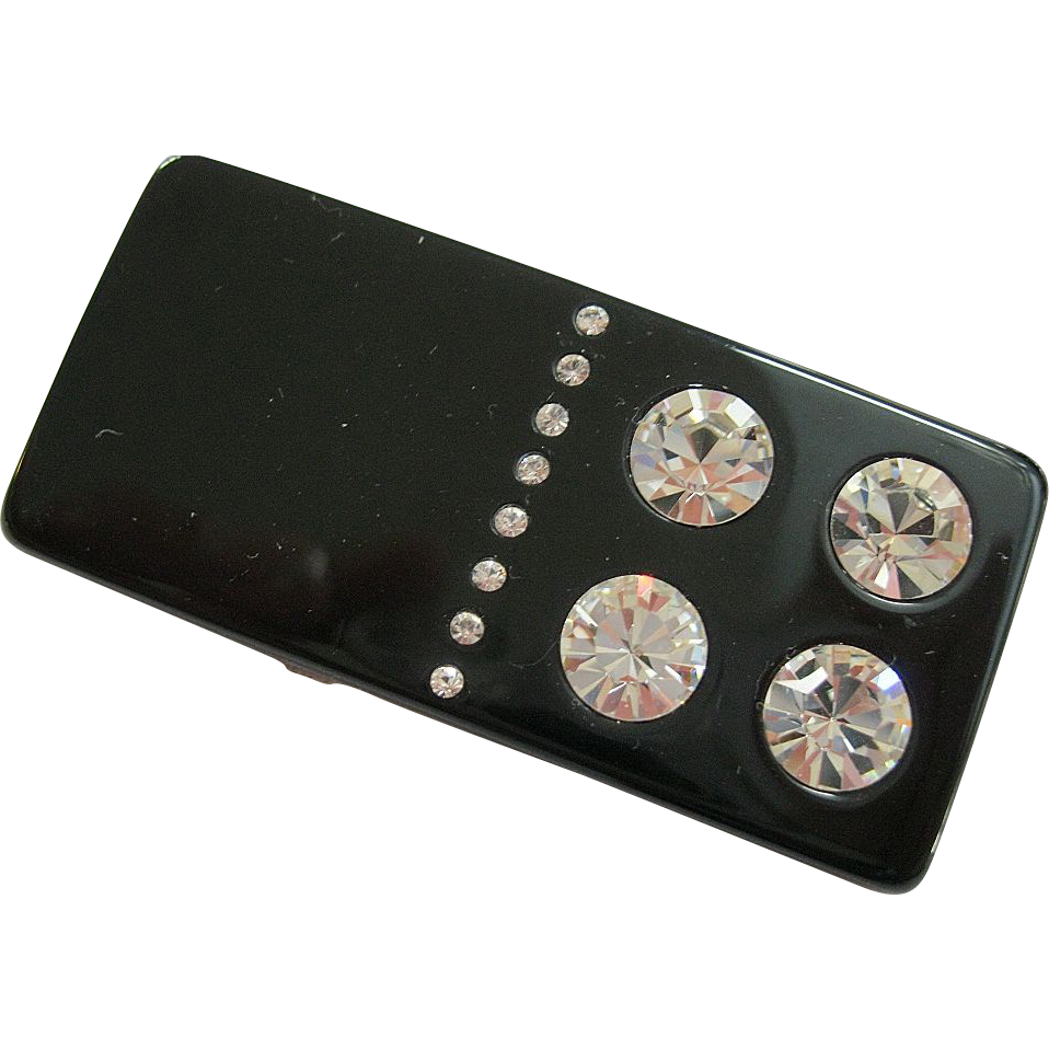 French Resin Domino Pin With Sparkling Crystals