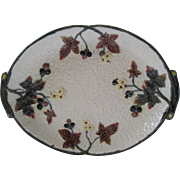 Clifton Raspberry And Flower Majolica Platter