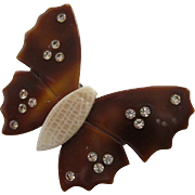 Butterfly Pin With Rhinestones By French Designer Lea Stein