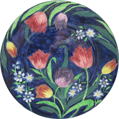 English Maling Rack Plate With Tulips