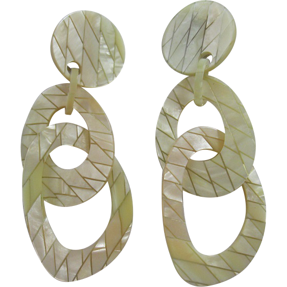 Pair Of French Designed Pearlized Resin Clip Earrings