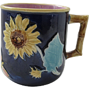Cobalt English Majolica Sunflower & Butterfly Pitcher