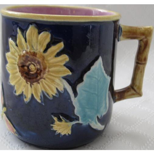 Cobalt English Majolica Sunflower & Butterfly Mug