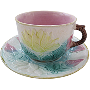 English Samuel Lear Majolica Mustache Cup & Saucer
