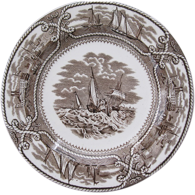 English Brown Transfer Ware Plate American Marine Pattern