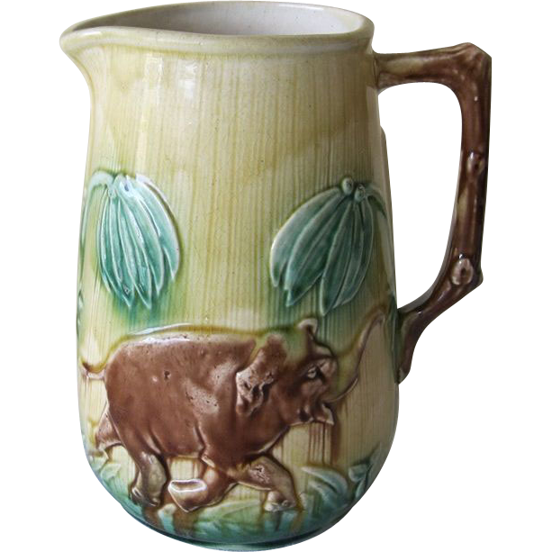 Majolica Pitcher with Elephants And Palm Trees