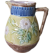 Etruscan Majolica Butterfly And Wild Rose Pitcher