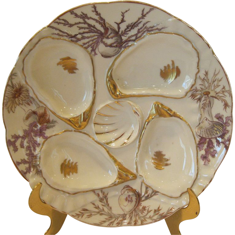 Antique Porcelain Oyster Plate With Shells & Seaweed By Weimar Germany