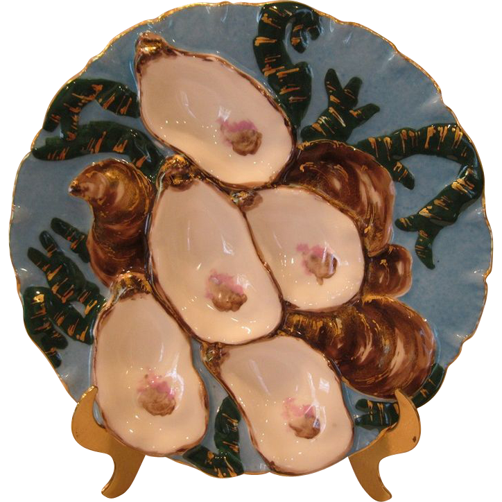 Striking Antique Porcelain Turkey Oyster Plate By Haviland Limoges