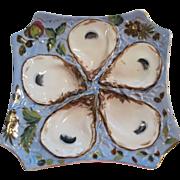 Antique Porcelain Square Shaped & Floral Design Oyster Plate