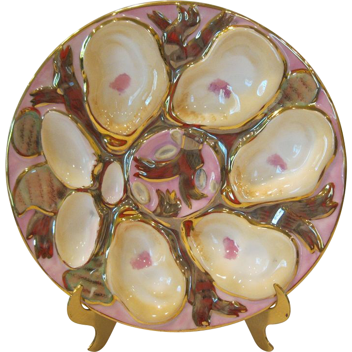 Stunning Antique Porcelain Turkey Oyster Plate By C Tielsch